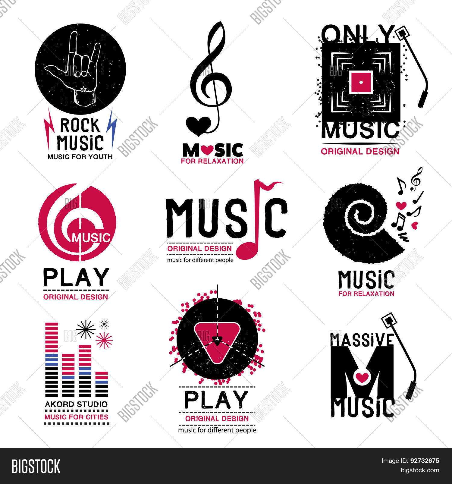 43c75918080b9 Set of retro Collection of music logos and emblems.