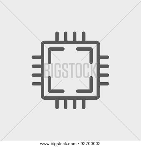 CPU icon thin line for web and mobile, modern minimalistic flat design. Vector dark grey icon on light grey background. poster