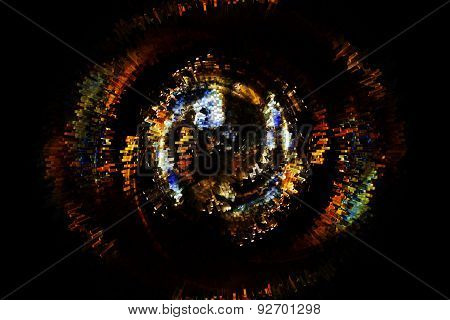 Beautiful bstract fiery circle on a black background