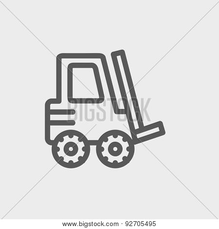 Forklift truck icon thin line for web and mobile, modern minimalistic flat design. Vector dark grey icon on light grey background.