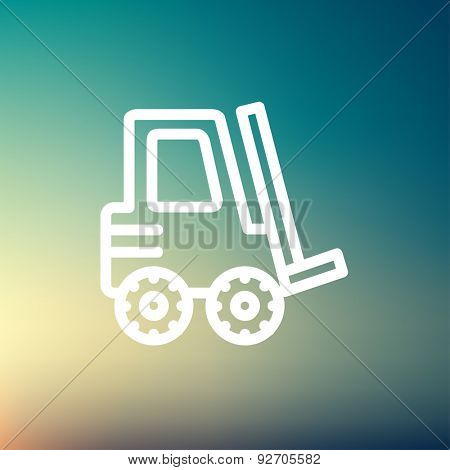 Forklift truck icon thin line for web and mobile, modern minimalistic flat design. Vector white icon on gradient mesh background.