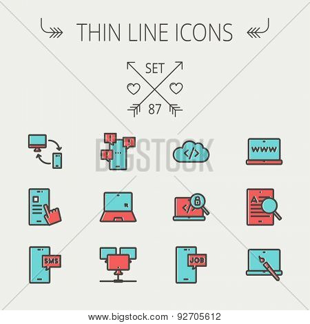 Technology thin line icon set for web and mobile. Set includes - laptop, monitor, smartphones, magnifying glass. Modern minimalistic flat design. Vector icon with dark grey outline and offset colour