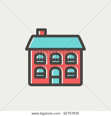Retro flat house icon thin line for web and mobile, modern minimalistic flat design. Vector icon with dark grey outline and offset colour on light grey background.