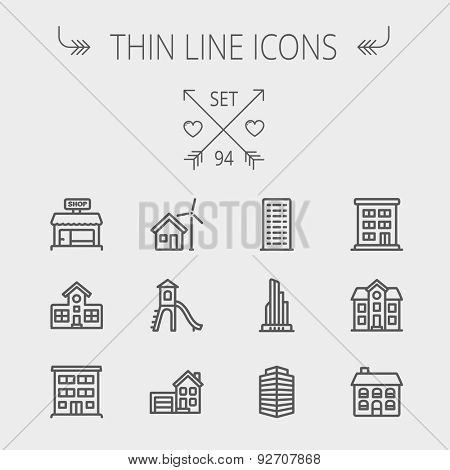 Construction thin line icon set for web and mobile. Set includes -house, playhouse, house with garage, buildings, shop store. Modern minimalistic flat design. Vector dark grey icon on light grey