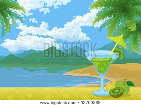 Cocktail, Fruits, Mountains and Sea