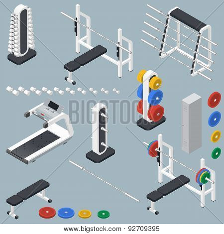 Athletic Accessories For Fitness Center Isometric Icons Set