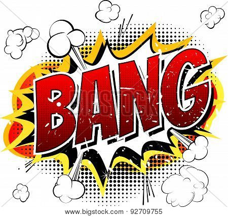 Bang - Comic book, cartoon explosion isolated on white background. poster