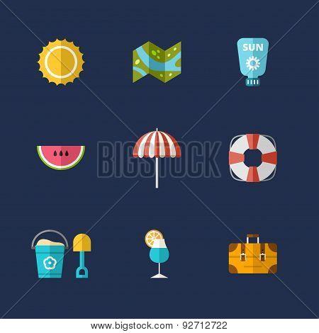 Summer Holidays Vector Icon Set. Flat Design Vector Colorful Illustration