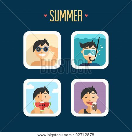 Set Of Summer Holidays Vector Illustrations. Flat Design. Sunbathe, Diving, Eat Watermelon, Ice Crea