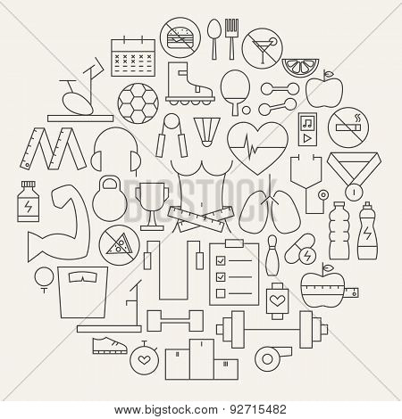Fitness And Dieting Line Icons Set Circular Shaped