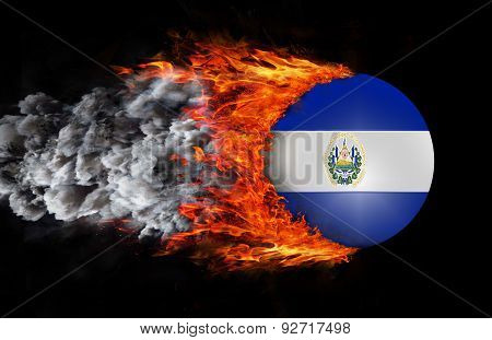 Flag With A Trail Of Fire And Smoke - El Salvador