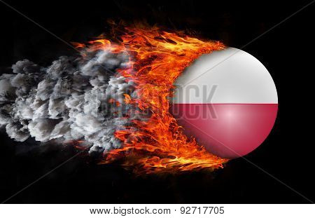 Flag With A Trail Of Fire And Smoke - Poland