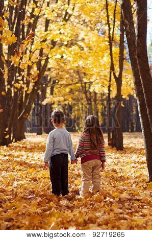 Children stand in the autumn park holding hands