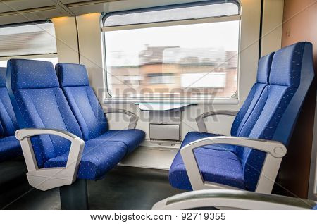 Emtpy Interior Of The Train For Long And Short Distance