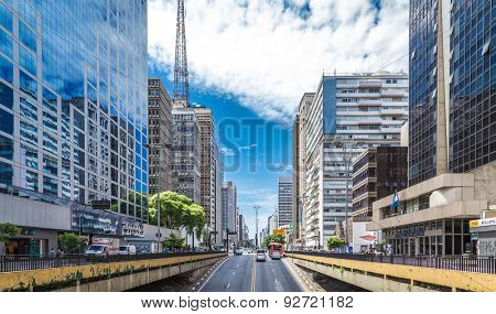 SAO PAULO, BRAZIL - CIRCA JAN 2015: Paulista Avenue in Sao Paulo, Brazil. Paulista is one of the most important avenues in Sao Paulo with 2.8 kilometer of thoroughfare.