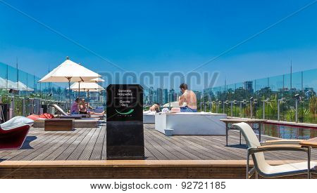 SAO PAULO, BRAZIL - CIRCA JAN 2015: Unique Hotel Swimming Pool. The Hotel Unique is one of the landmarks in Sao Paulo and has a Bar Restaurante on the top called Skye.