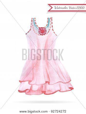 Pink Dress Watercolor Sketch
