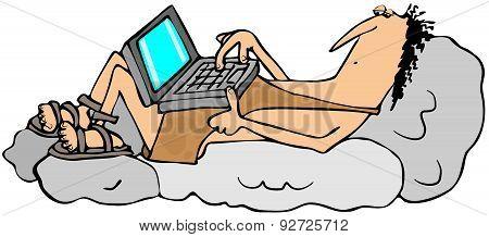 Cartoon caveman techie