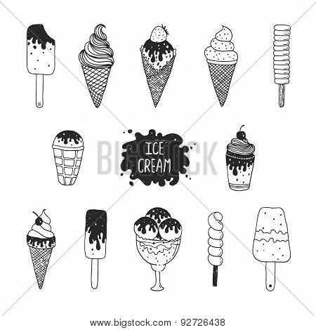 Vector collection of hand drawn ice cream