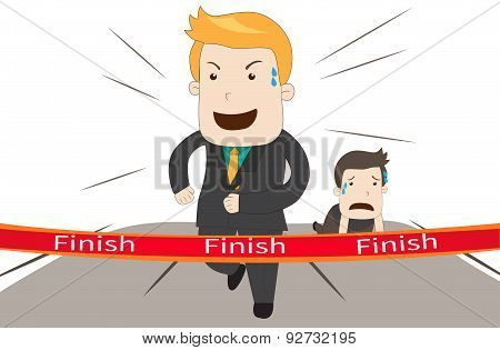 A Cartoon Businessman Is Winning Against His Competitor In A Marathon Racing Business Competition Ga