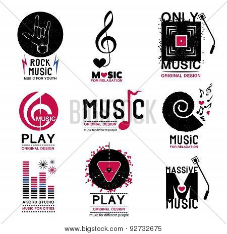 Set of retro Collection of music logos and emblems.
