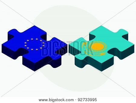 European Union And Kazakhstan Flags In Puzzle