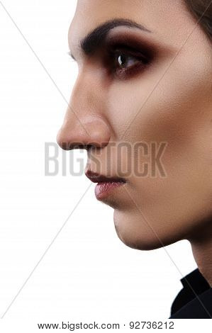 Closeup Portrait Of Androgynous Fashion Male Model