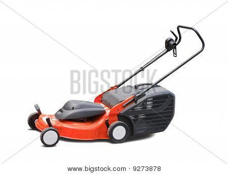 orange lawn mower. Isolated with clipping path poster