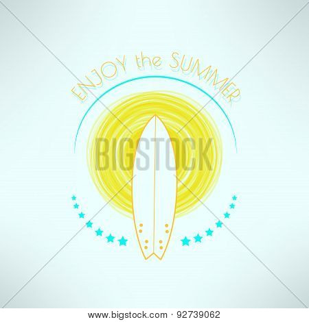 Vector surf enjoy the summer backround. T-shirt surfboard graphic design. Inspirational hoidays and