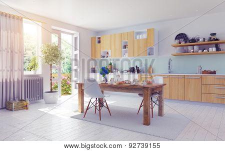 modern kitchen interior. 3d design concept.