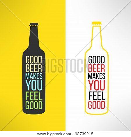 Vector beer bottle design background with a cool slogan on it. Bar poster design element
