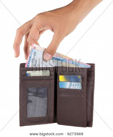 gesture of hand taking money from inside the wallet poster