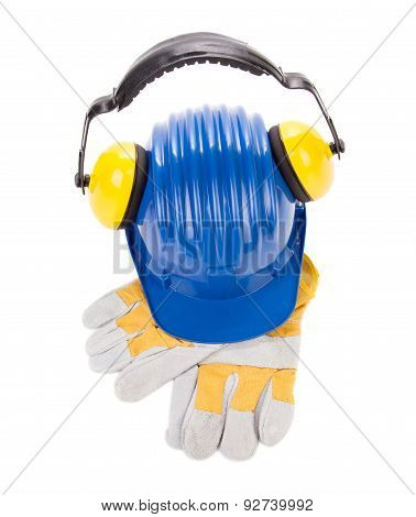 Hard hat ear muffs and gloves.
