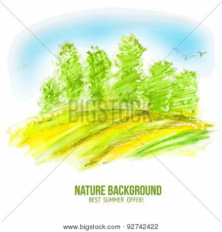 Watercolor Vector Summer Forest