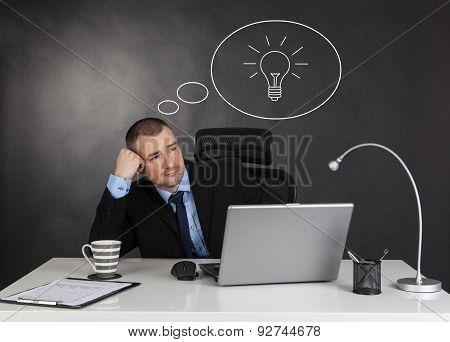 Idea Concept. Thinking Businessman.