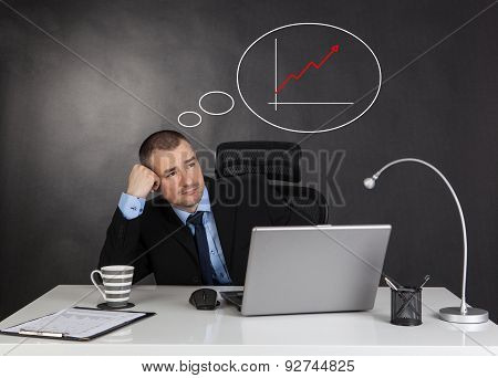 Thinking Businessman And Line Graph