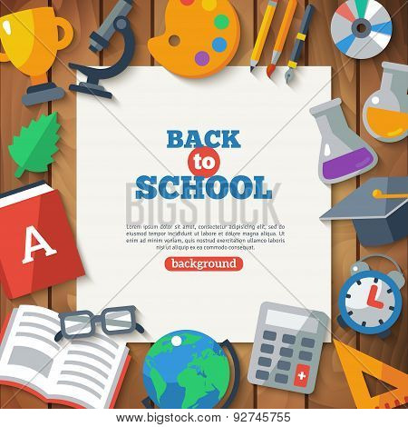 Back To School Banner With Flat Icon Set with Long Shadow.