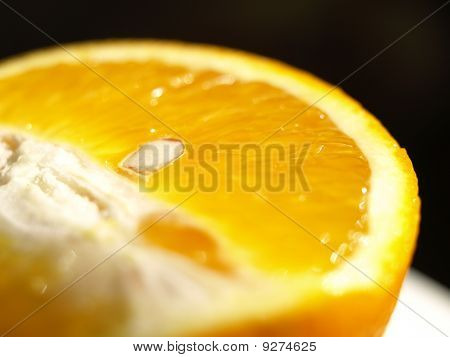 Close up shot of fresh orange slice