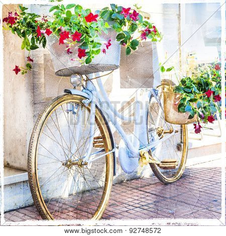 charming street decoration with bike and flowers, artistic picture