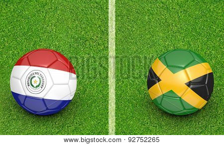 Versus concept for the 2015 Copa America football tournament with national teams Paraguay and Jamaica. poster