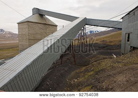 Exterior of the abandoned arctic coal mine buildings in Longyearbyen, Norway.