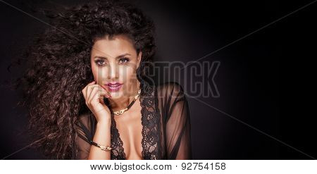 Beauty Portrait Of Smiling Brunette Lady.