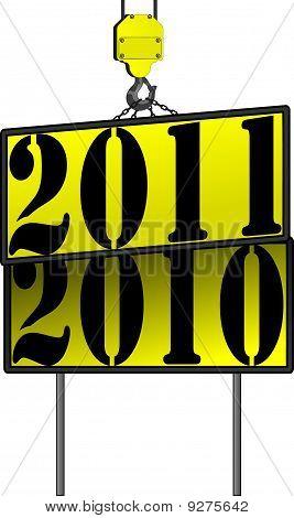 New Years Crane sign 2011 replacing 2010