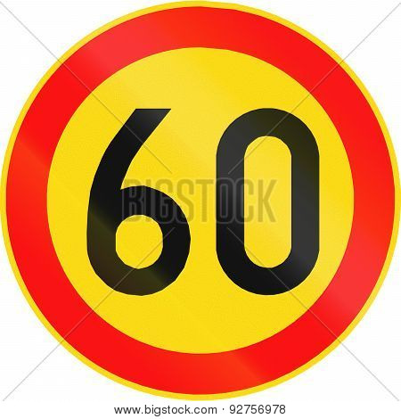 Road sign 361 in Finland - Maximum speed limit (km/h) poster