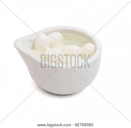 Fresh mini Mozzarella on white background poster