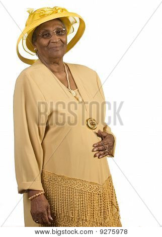 Old African American Woman Wearing Yellow Hat