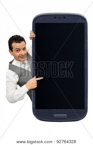 Brazilian man finger pointing to a smartphone lcd isolated on white background