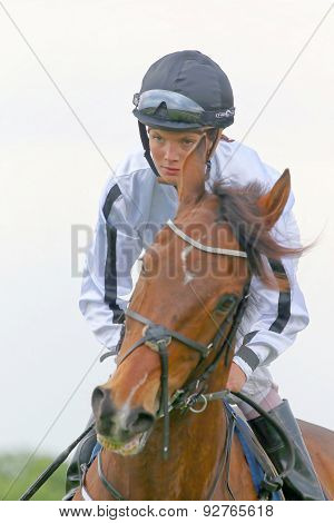 Concentrated Female Jockey