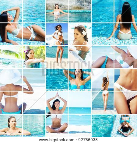 Beautiful women relaxing in the pool and on the beach. Summer vacation, resorts, leisure, healthy lifestyle and sports concept.