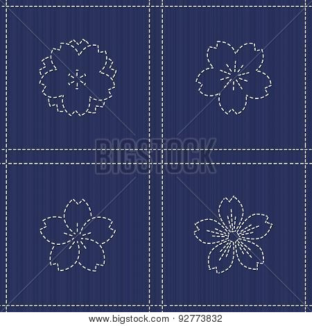 Endless texture. Japanese Embroidery Ornament with  blooming sakura flowers. Plaid.
